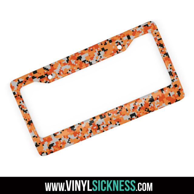 Fossil Orange Digital Camo License Frame Main