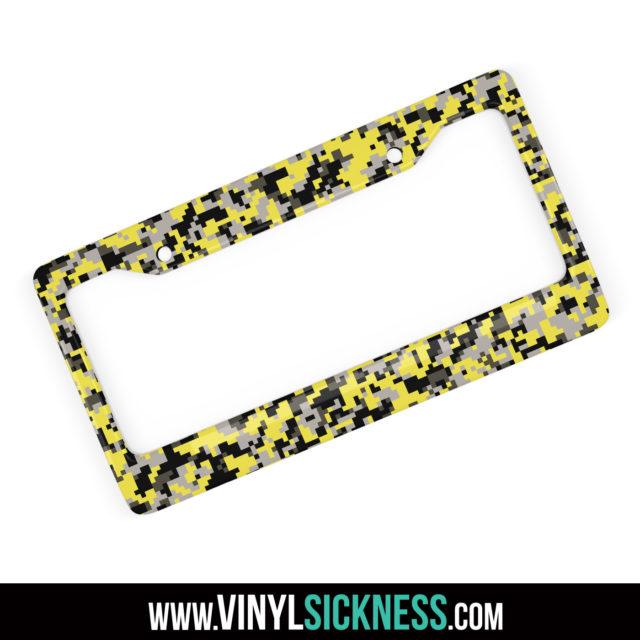 Iron Yellow Digital Camo License Frame Main