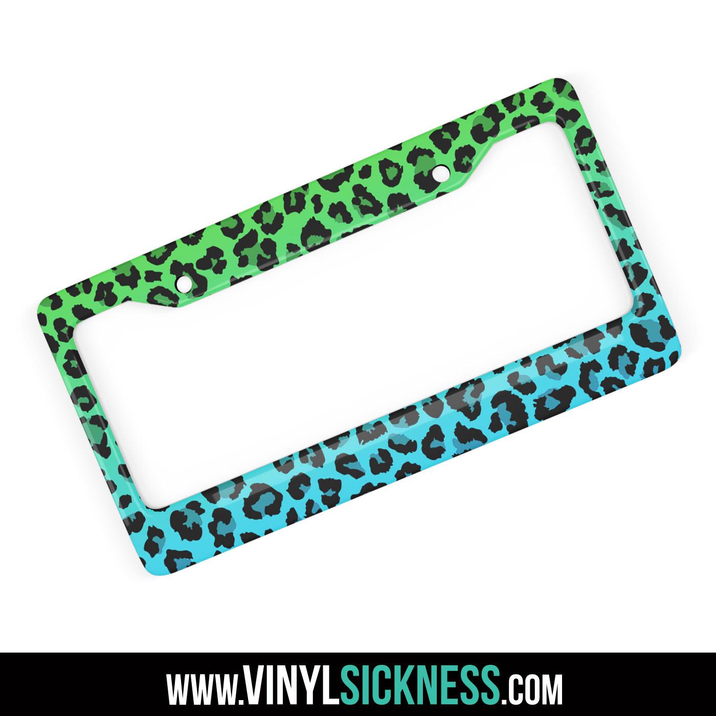 Leopard Print Green Fade License Plate Frames Animal