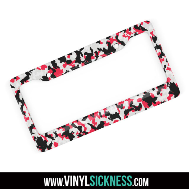 Jdm Tuner Premium Camo Black Red License Plate Frame