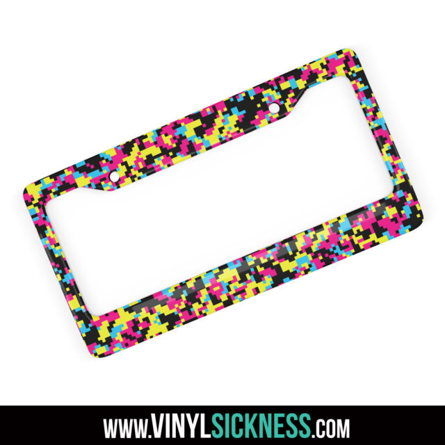 Jdm Tuner Premium Digital Camo Neon Party License Plate Frame