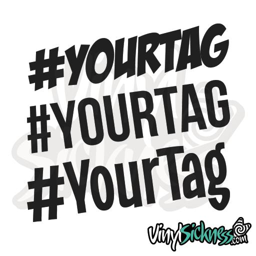 Large Custom Hashtag Decal Sticker customizable #