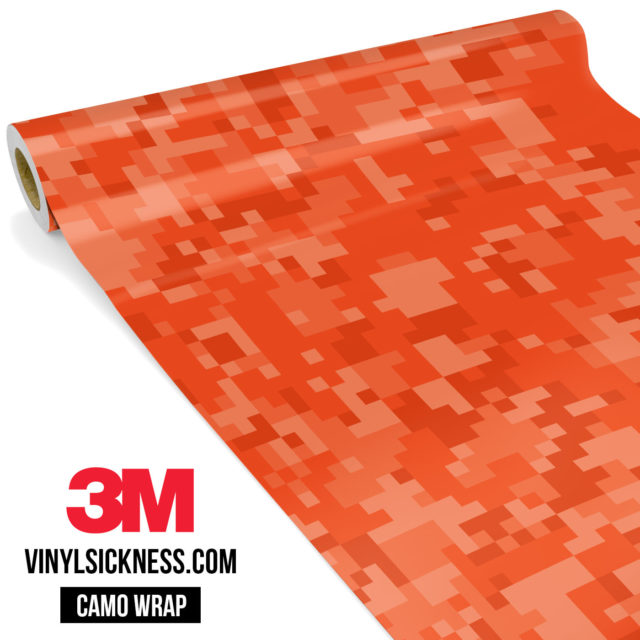 Intense Tangerine Digital Camo Regular Vinyl Wrap Main