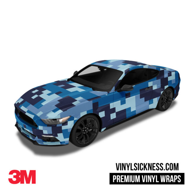 Jdm Digital Camo Blue Night Vinyl Wrap Large Car