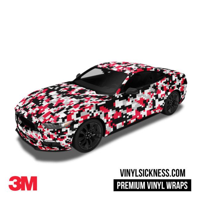 Jdm Digital Camo Red Black Vinyl Wrap Regular Car