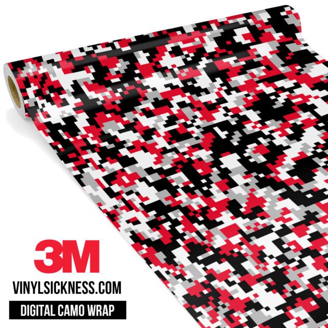 Jdm Digital Camo Red Black Vinyl Wrap Small