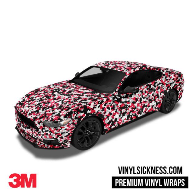 Jdm Digital Camo Red Black Vinyl Wrap Small Car