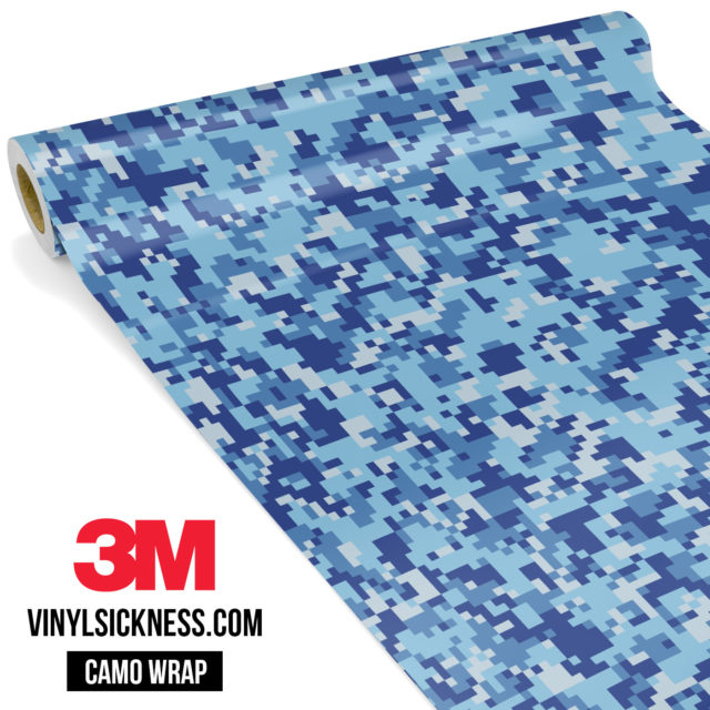 Jdm Premium Camo Blue Gray Digital Vinyl Wrap Small