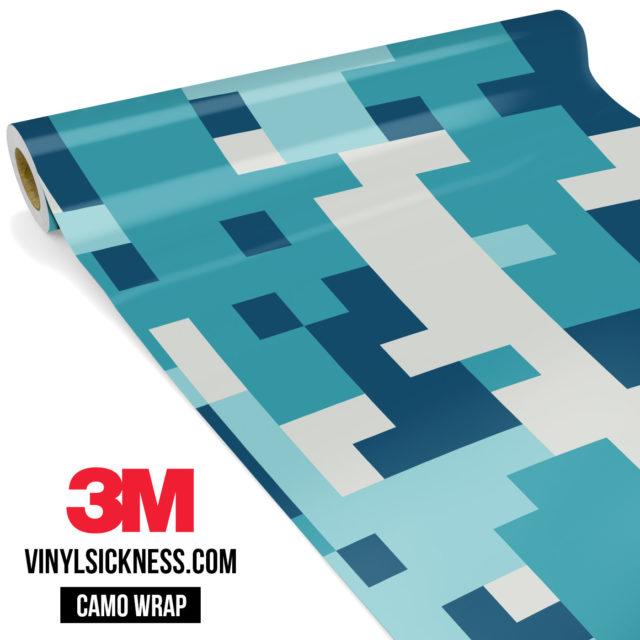 Jdm Premium Camo Dark Cyan Blue Digital Vinyl Wrap Large