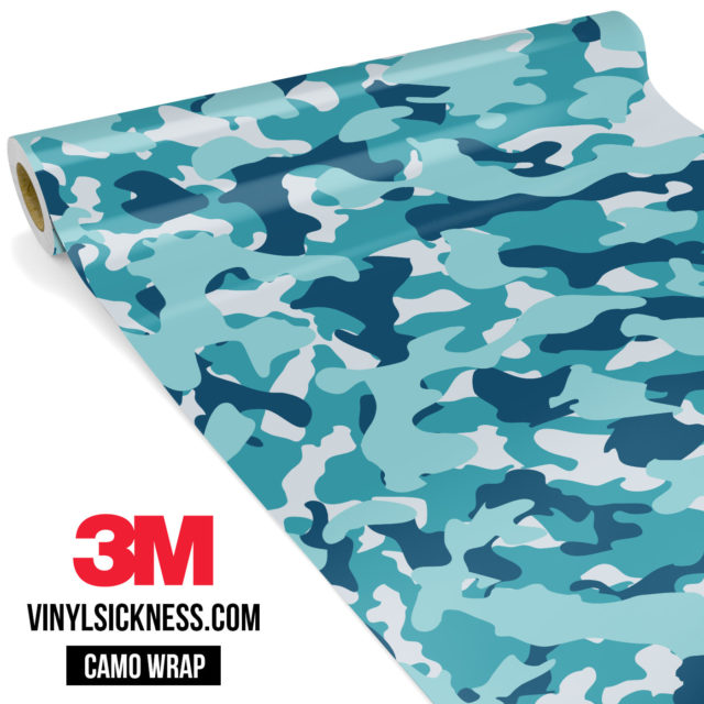 Jdm Premium Camo Dark Cyan Blue Vinyl Wrap Regular