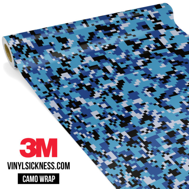 Jdm Premium Camo Deep Sea Blue Digital Vinyl Wrap Small