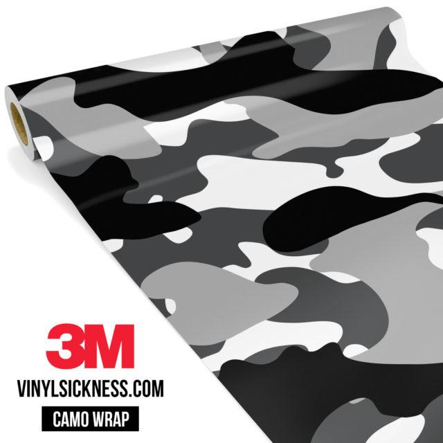 Jdm Premium Camo Snow Black Vinyl Wrap Large