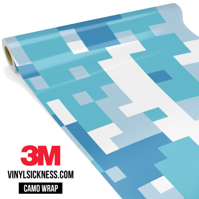 Jdm Premium Camo Turkish Blue Digital Vinyl Wrap Large